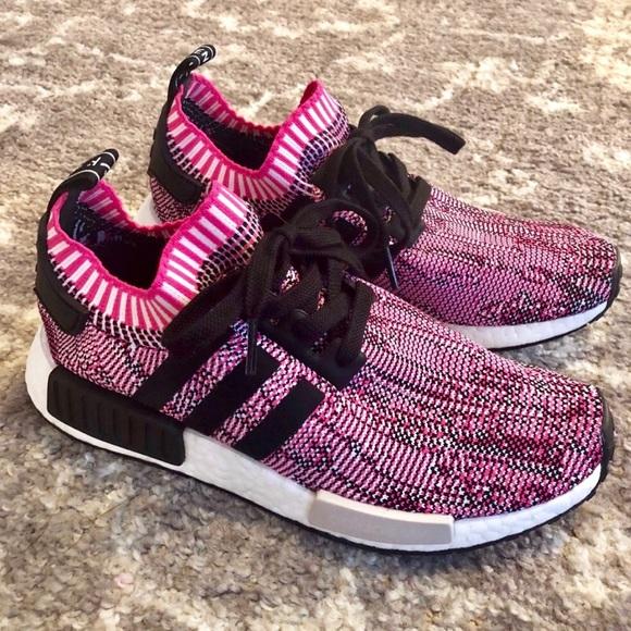 Adidas NMD R1 Primeknit Shock Pink Fits Sz 9 NEW! NWT